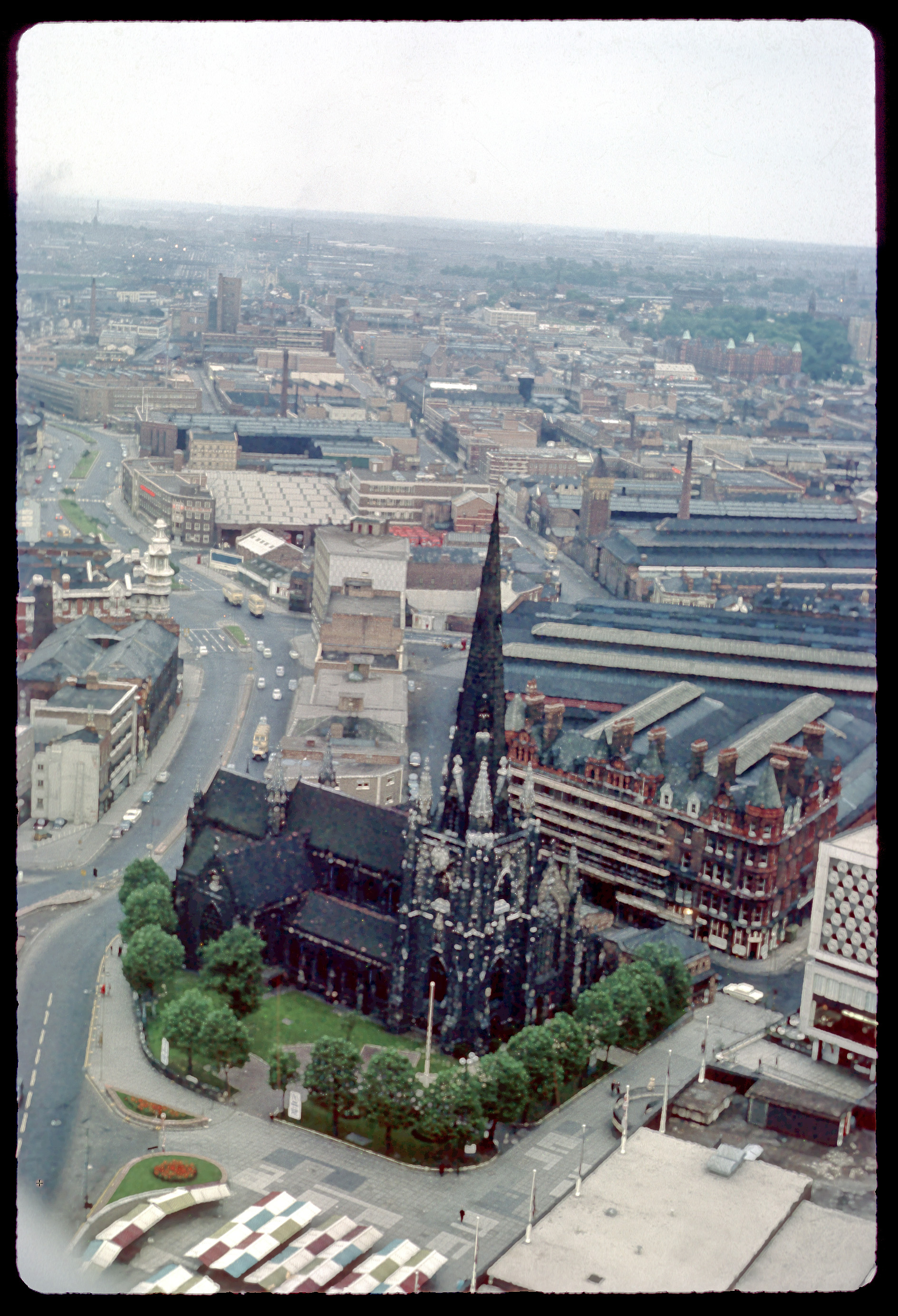 view from the rotunda over st  martin u0026 39 s church and the bull ring markets  birmingham